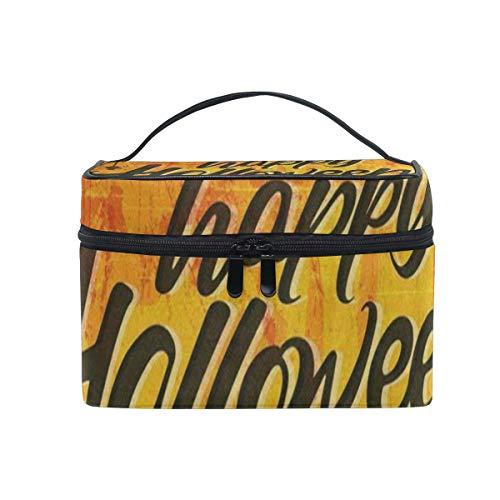 Trousse de maquillage Happy Halloween Bat Fall Orange Cosmetic Bag Portable Large Toiletry Bag for Women/Girls Travel