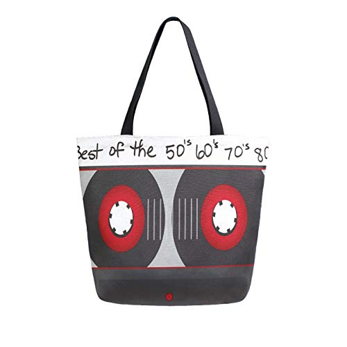 JinDoDo - Bolsa de lona para mujer, diseño vintage, retro, reutilizable, para ir de compras, viajes, playa, escuela