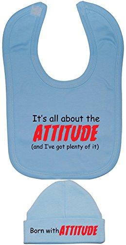 C'est All About the Attitude & I VE Got plein d'IT Baby Bavoir et bonnet/Casquette de 0 à 12 mois - Bleu - XXS