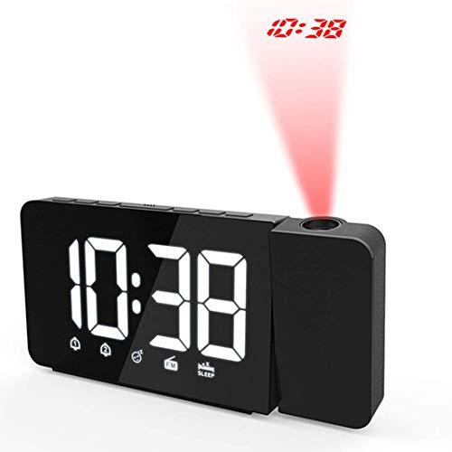 FM Radio Wecker mit Projektion, Deckenprojektion Hintergrundbeleuchtung/Snooze/Helligkeitseinstellung LED Wecker Digitalprojektion Projektionsuhr, Rot