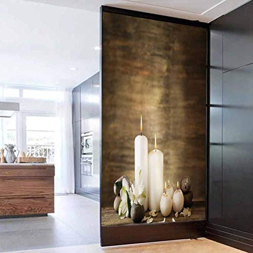 Privacy Window Film Frosted Glass Film, Spa Decor Composition of Pure Candles Wooden Background with Stones an Privacy Glass Film for Home &Office 23.6 x 47.2 in