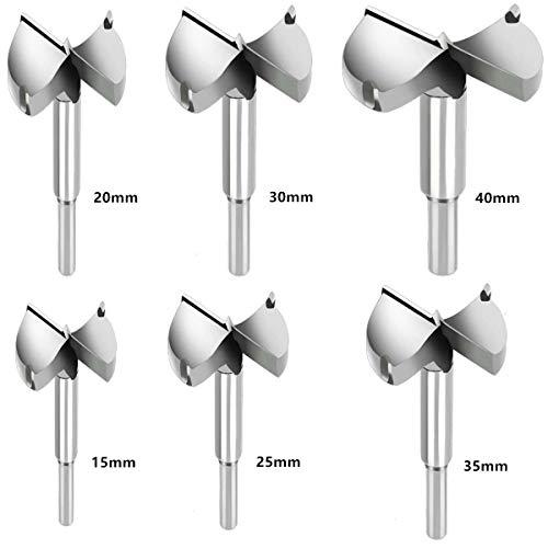 Sinzau Durchmesser 15/20/25/30/35/40mm, Holzbohrer Hartmetall Set, Fräsköpfe Topfbohrer mit Zentrierspitze, für Hartholz Kunststoff, 6 Stück (Mehrweg)