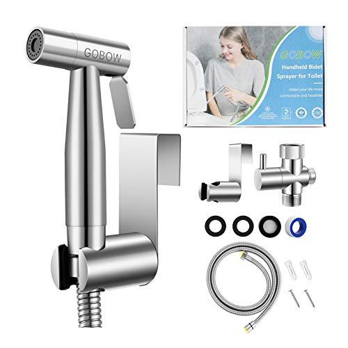 GOBOW Handheld Bidet Sprayer, Bathroom Jet Kit for Toilet, Adjustable Water Pressure Cloth Diaper Sprayer, Stainless Steel Easy Install Anti-Leak Cloth Diaper Sprayer with Adjustable Pressure