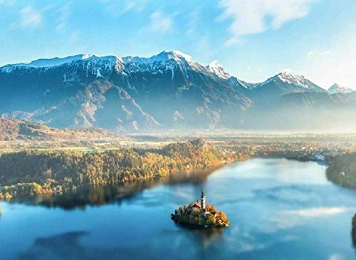 ZaosanKits de Pintura por números, Pintura al óleo DIY para niños, Estudiantes, Adultos, Principiantes, Isla de Bled, montañas de Eslovenia, neblina