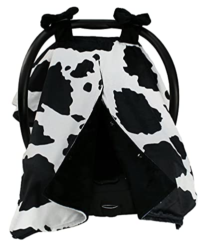 Dear Baby Gear Deluxe Car Seat Canopy, Double Layer Minky, Holstein Black and White Cow Print, Black Minky Smooth, Black Puffy Bows 40 x 30 Inches