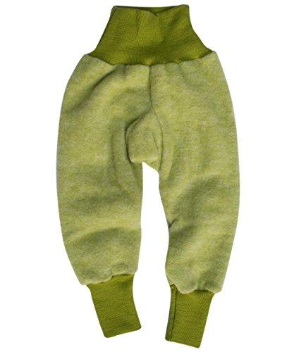Cosilana Baby Hose mit Bund aus weichem Wollfleece, 60% Schurwolle kbT, 40% Baumwolle (KBA) (98/104, Lindengrün-Melange)