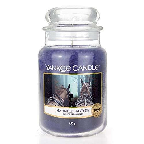 YANKEE CANDLE Haunted Hayride Große Kerze, Glas, lila, 16,8cm