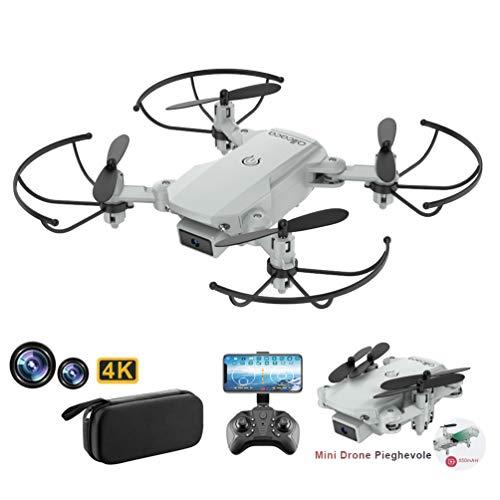 allcaca RC Mini Drone con Telecamera 4K HD Doppia, RC Quadcopter Drone Pieghevole WiFi FPV Drone, Un Pulsante di Decollo / Atterraggio, modalità Senza Testa 3D Flip, per Bambini Regalo, Grigio