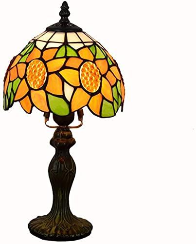 Lámpara de mesa estilo Tiffany de 8 pulgadas amarillo verde manchado girasol lámpara sombras decoración antigua lámpara de escritorio para sala de estar dormitorio arte regalos