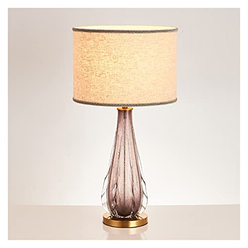 zxb-shop Living Room Bedroom Table Lamp Glass Table Lamp Hotel Creative Simple Glass Gradient Color Table Lamps Living Room Bedroom Bedside Table Lamp Cylinder Shade Bedside Nightstand Lamp