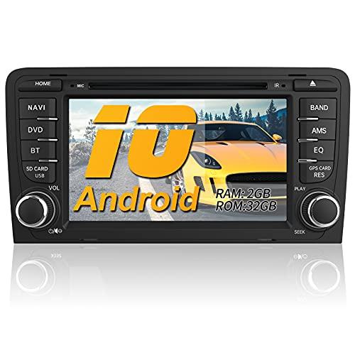 AWESAFE Android 10 Autoradio für Audi A3 S3 RS3, 2GB+32GB, Radio mit Navi unterstützt DAB+ WLAN CD DVD Bluetooth 2 Din 7 Zoll Bildschirm