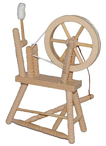 alles-meine.de GmbH Miniatur Spinnrad - aus hellem Natur Holz - zum Spinnen Wolle - für Puppenstube Maßstab 1:12 - Puppenhaus Puppenhausmöbel - Schafwolle Spindel Dornröschen Mär..