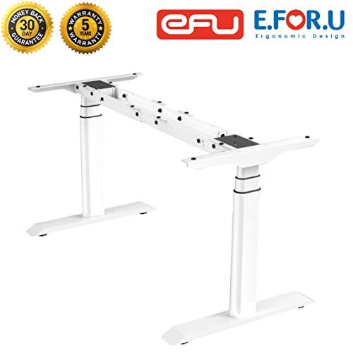 E.For.U Q7 Elektrisch höhenverstellbarer Schreibtisch (Dualer Motor Pro, Weiß) höhenverstellbares Tischgestell 2 Motoren,3-Fach-Teleskop, mit Memory-Steuerung (Weiß)