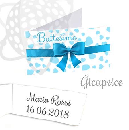 Gicaprice Bigliettini bomboniera Personalizzati con Stampa Omaggio (50 BIGLIETTINI Battesimo Bimbo)