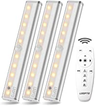 LDOPTO Wireless Under Counter Lighting 3 Pack with Remote Control | LED Under Cabinet Lighting | Closet Light | Battery Operated Lights | led Lights for Room | Stick On Lights Remote/Touch Control