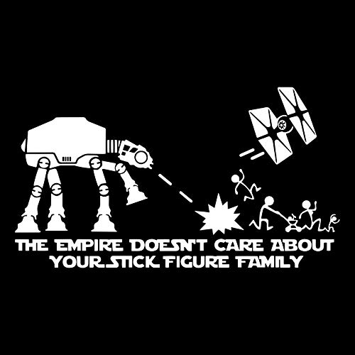 The Empire Doesn't Care About Your Stick Figure ATAT Star Tie Fighter War Family Vinyl Decal Car Window Sticker