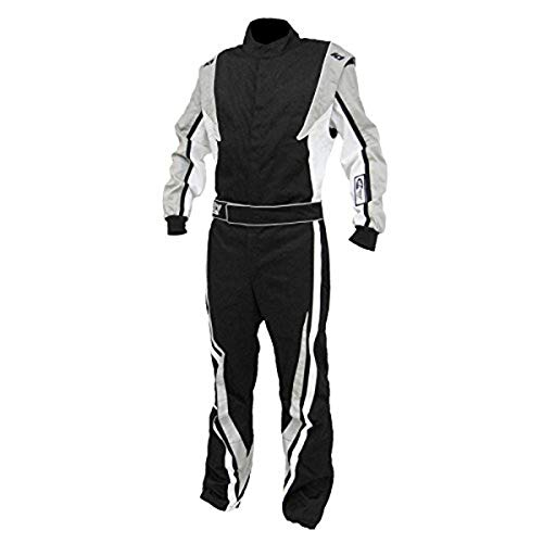 K1 Race Gear SFI 3.2a/1 Victory Auto Racing Suit (Black/White/Grey, Large/X-Large)