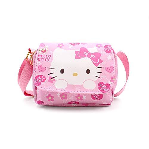 Finex Hello Kitty Rucksack aus PU-Leder oder PVC, mit Fronttasche mit Reißverschluss oder Umhängetasche, mit verstellbarem Riemen, Pink (PU Hello Kitty Crossbody) (Pink) - SF402C2