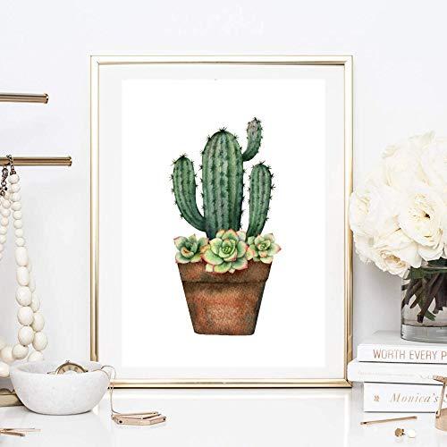 Din A4 Kunstdruck ungerahmt - Kaktus Feigenkaktus Sukkulenten Dachwurz Aquarell Natur Topfpflanze Druck Poster Bild