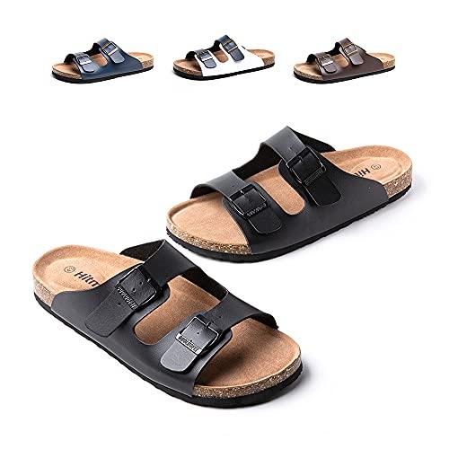 Sandalias Hombre Chanclas Piel Sintético Zapatos Verano Sandalias de Corcho Zapatillas de Casa Punta Abierta Piscina Playa A Negro 43 EU