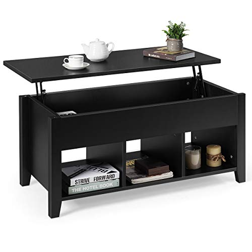 Tangkula Lift Top Coffee Table, Wood Home Living Room Modern Lift Top Storage Coffee Table w/Hidden Compartment Lift Tabletop Furniture (Black)