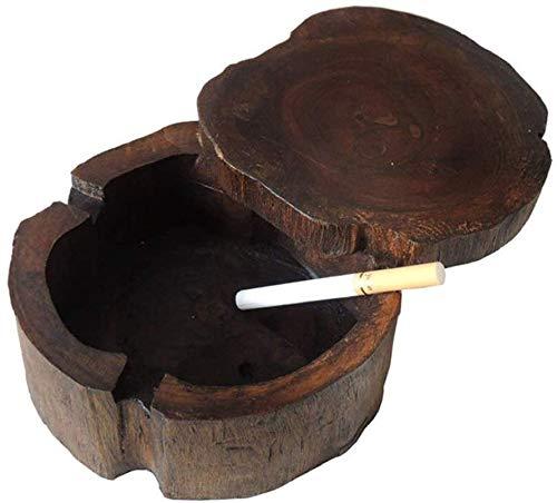 AMITD Ronde houten sigarettenasbak-blok met 360 draaiend deksel 3 sigaretten, die het onkruidas tafelsieraden roken