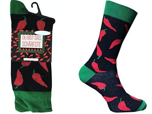 CHiLI Lifestyle Socks Motivsocken Peperoni Du bist das Schärfste Herrensocken Strümpfe Socken, Mehrfarbig, 41-44