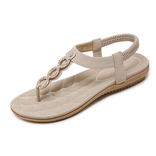 SANMIO Damen Sandals, Frauen Sandalen Sommer Bohemian Strass Flach Sandaletten PU Leder Zehentrenner, Beige, 37 EU
