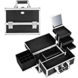 Joligrace Makeup Train Case Organizer Box Professional Multi-Purpose Cosmetic Storage with Sliding Trays, Polish Slots & Mirror, Portable Lockable with Keys, Large Black