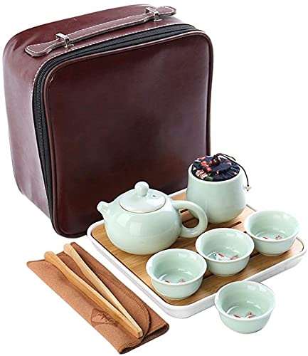 ZJDU Mini Viajes Juego de Tazas de té de Kung Fu con Bandeja Portátil China Cerámica Tetera de Porcelana Bolsa de Regalo para Business Votearet Outdoor
