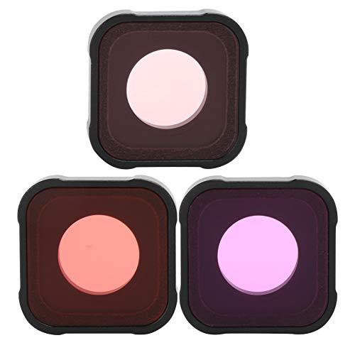 Juego de filtros de cámara 3 en 1, juego de filtros de buceo para cámara de acción, filtro rojo/rosa/magenta, filtro protector de lente, filtro de repuesto de cubierta protectora de lente, con imperme