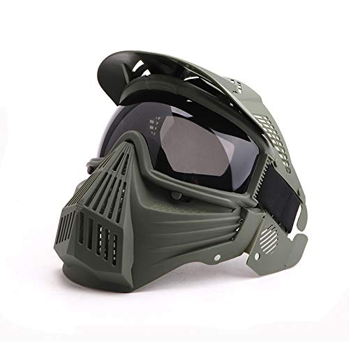 Anyoupin Paintball Mask, Airsoft Mask Full Face with Goggles Impact Resistant for Airsoft BB Hunting CS Game Paintball and Other Outdoor Activities Green-Gray Lens