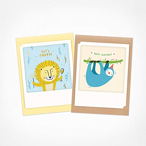 PICKMOTION - Tiere 2 | 2er Set kleine Klappkarten | Grußkarten - inklusive Umschlag, Bilder von Instagram Fotografen mit handgefertigten Illustrationen, designed in Berlin - Geburtstagskarten