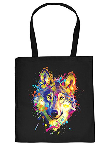 Sportliche Einkaufstasche aus Baumwolle in schwarz mit trendy Neon Aufdruck: Wolf mit Farbklecksen