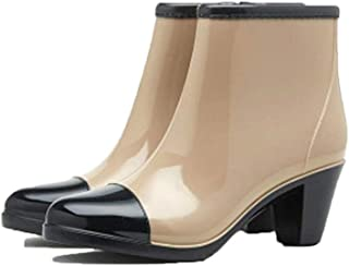 MEIGUIshop Rain Boots - Non-Slip Thick high Heel rain Boots Short Tube Boots Waterproof Overshoes