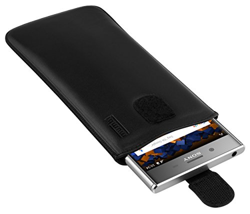 mumbi Echt Ledertasche kompatibel mit Sony Xperia XZ Premium Hülle Leder Tasche Case Wallet, schwarz