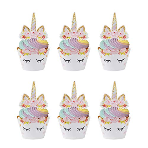 MengH-SHOP Cupcake Topper Wrapper Cupcake Wraps Liner Baking Cup Party Supplies Cake Decorations para Niños Niñas Regalo Unicornio Decoraciones de Fiesta de Cumpleaños 24 Pack