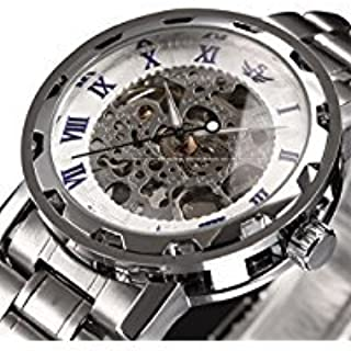 Watch,Mens Watch,Luxury Classic Skeleton Mechanical Stainless Steel Watch with Link Bracelet,Dress Automatic Wrist Hand-Wind Watch