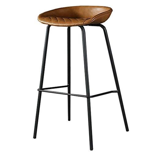 Bar stoolsQX IAIZI barkruk vintage eetkamerstoelen met antiek PU-lederen zitting en solide metalen voet voor eetkamer, woonkamer, slaapkamer, keuken