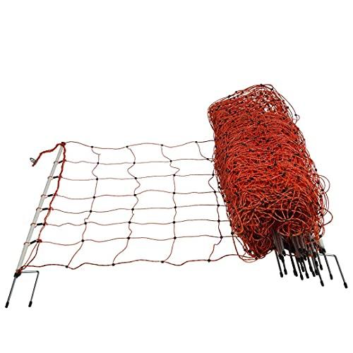 horizont Schafnetz mit Doppelspitze, Schafzaun, 8 horizontale Litzen Länge 50m, Höhe 90cm, Orange, Elektronetz, Weidezaun für Schafe, Elektrozaun, Ziegenzaun - perfekt für den Schutz Ihrer Schafe