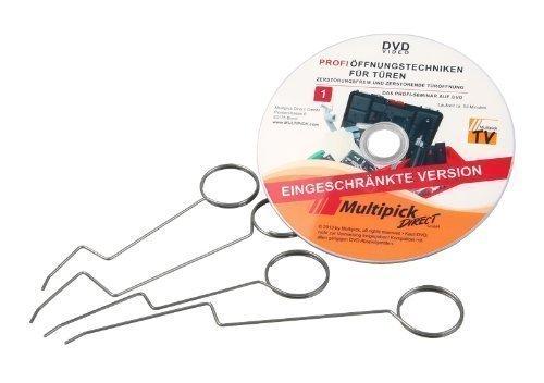 Dietrich-Set - Türfallen-Öffnungsnadel Set 4-tlg. inkl. Profi-Anleitung auf DVD - Türöffnungs-Set original Multipick