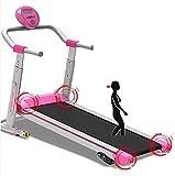Cinta de Correr mecánica Hogar Pequeño Plegable Fitness Barato Máquina de Acero de Alta Densidad Columna de Cuero de Cuero Textura Táctil Armada TAPILES Función de Caminar inversa, Rosa
