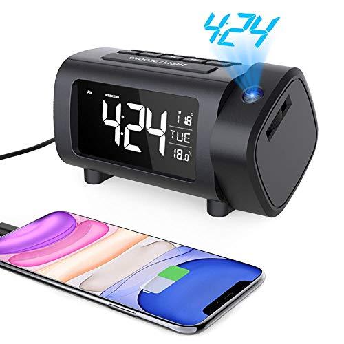 Liorque Sveglia con Proiettore Sveglia Digitale da Comodino FM Radiosveglia Display VA con Dimmer Snooze Modalità Weekend Grandi Numeri Temperatura Data Ora Legale Porta USB
