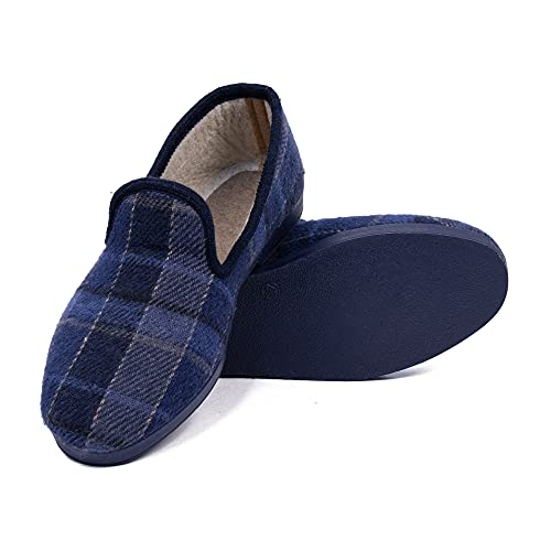 CoboFamily Zapatillas de Casa Hombre Invierno, Zapatillas de Estar por Casa, Zapatos de Tela con Tacón Plano y Punta Cerrada Multicolor, Suela Caucho (Marino, 42)