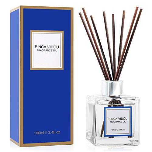 Binca Vidou Reed Diffuser Set, Mixed Fragrance of Bergamot, Vanilla, Lavender and Jasmine Reed Oil Diffusers for Bedroom Living Room Office Essential Oil Reed Diffuser for Stress Relief 100ml/3.4oz