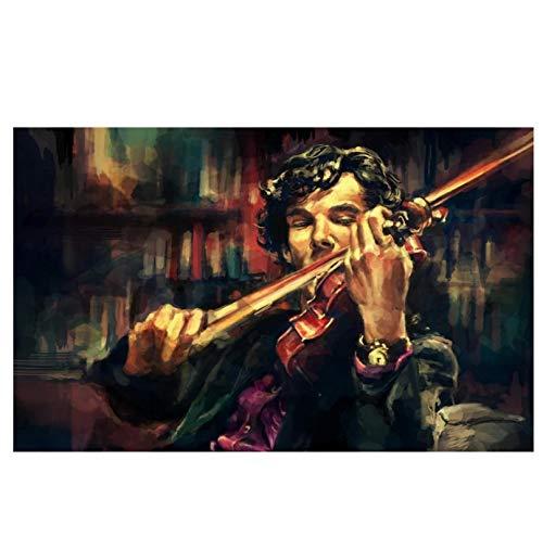MGSHN Detective Sherlock spielt die Geige Poster Art HD Poster Bild Leinwand Gemälde Wandkunst Artwork -60x80cm Kein Rahmen