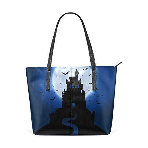 LIANCHENYI Halloween Spooky Spukhaus Geldbörse PU Leder Schulter Tote Tasche Geldbörse für Damen Mädchen Damen