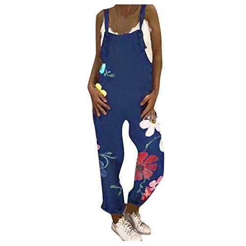 Binggong Jumpsuit Damen Sommer Lang Leinenoptik Latzhose, Frauen Blumen Overall Retro Sommerhose Romper Baggy Hose Strampler mit Taschen