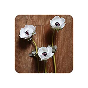 White Anemones Natural Real Touch Artificial Flowers Single Stem for Silk Wedding Bridal Bouquets Centerpieces Decorative Flower