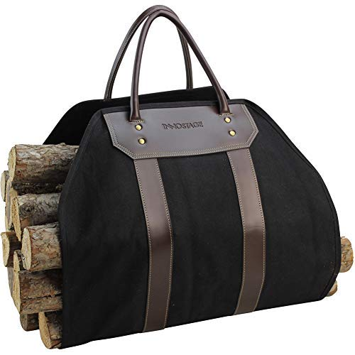 INNO STAGE Waxed Canvas Firewood Log Carrier Tote Bag, Durable Fireplace Stove Accessories, Endless Large Wood Holder with Leather Handles for Outdoor Camping or Hay Carrying